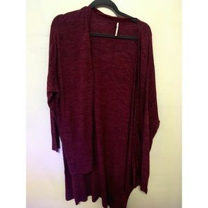 Burgundy red FP oversized cardigan
